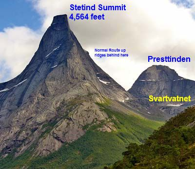 Stetind, Norway's national mountain, rises symmetrically from Tysfjord.