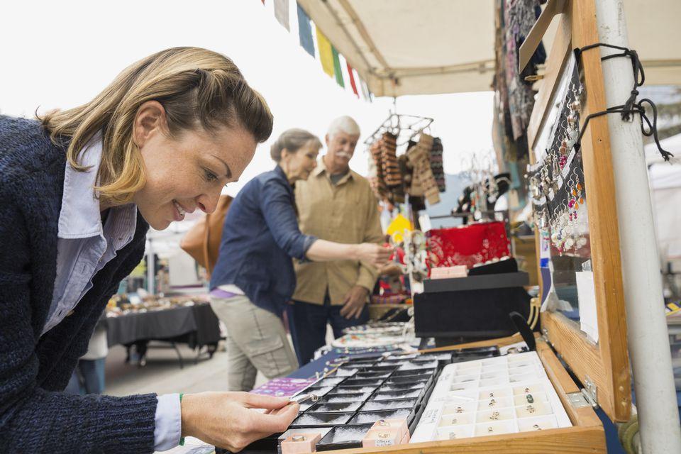woman shopping at a flea market