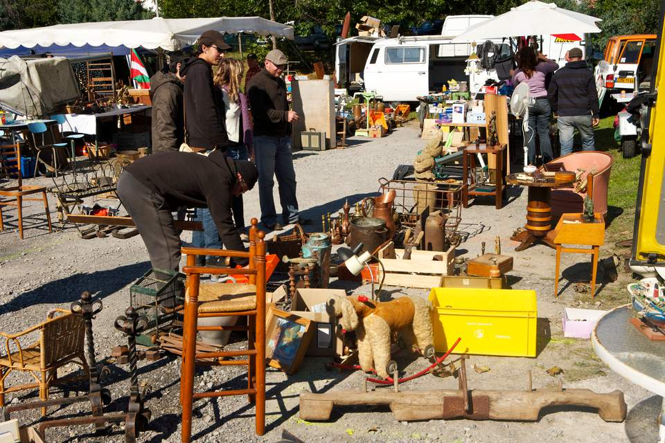 shoppers at outdoor antique sale