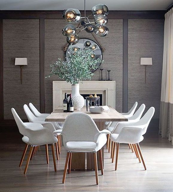 gray dining room with lively plant centerpiece - Modern Colors For Dining Room