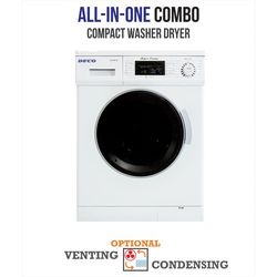 Deco All-in-one 1200 RPM Compact Combo Washer Dryer with Optional Condensing/Venting and Sensor Dry in White