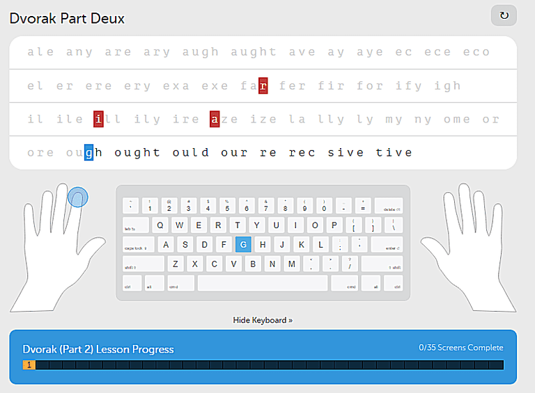Screenshot of a typing.com free typing lesson