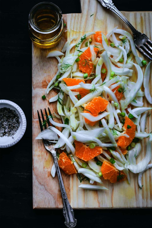 Sliced fennel, scallions and blood orange