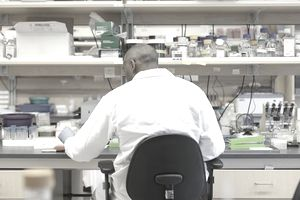 Male laboratory technician doing research