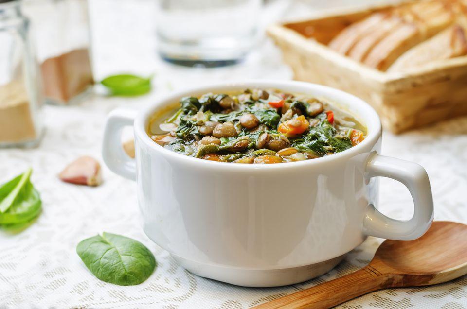 Lentil spinach soup