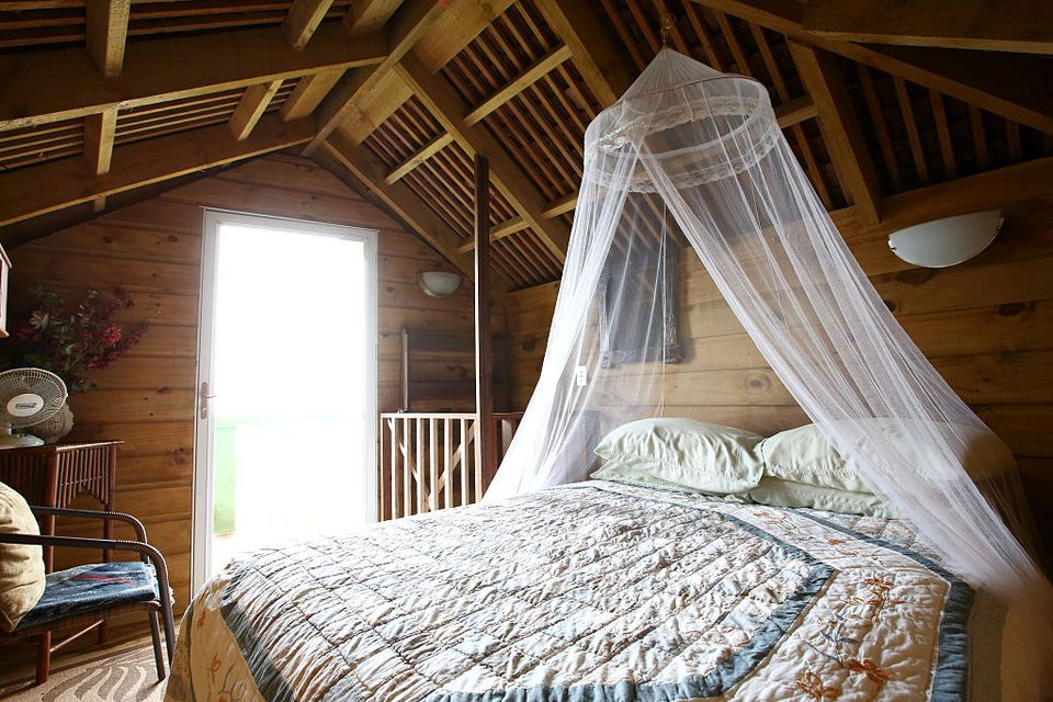 A bedroom like one you might find on Airbnb is seen here.