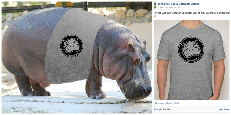 A hippo in a t-shirt and a t-shirt with a hippo on it. A fundraiser for the Cincinnati Zoo