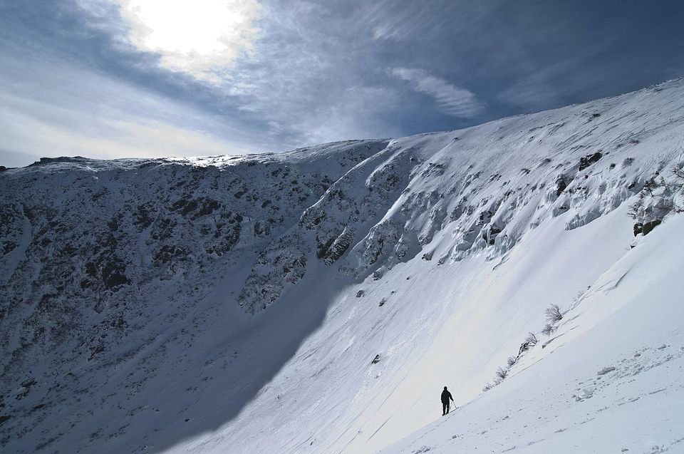Snow ranger looking into Tuckerman Ravine.