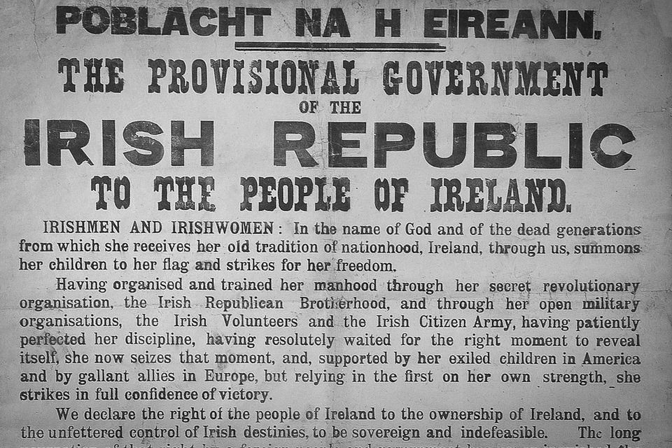 Partial image of an original poster with the Declaration of the Irish Republic, 1916