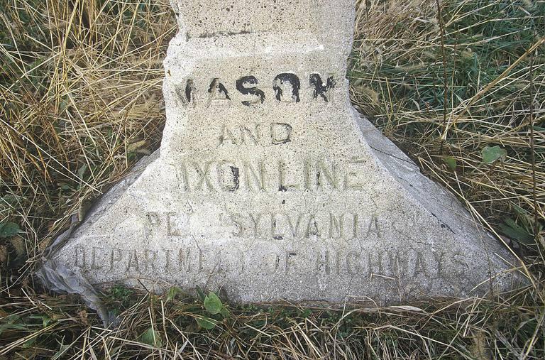Marker at the Mason Dixon line separating North from South during Civil War at Pennsylvania and Maryland