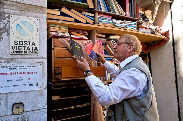 The open sky library with 50 thousand books in Palermo - Italy