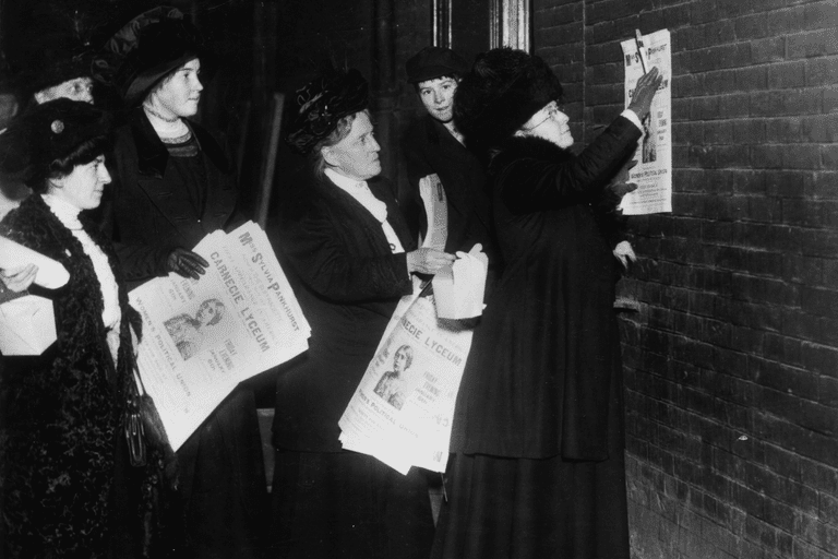 Harriot Stanton Blatch and New York suffragettes putting up posters announcing a forthcoming lecture by Sylvia Pankhurst