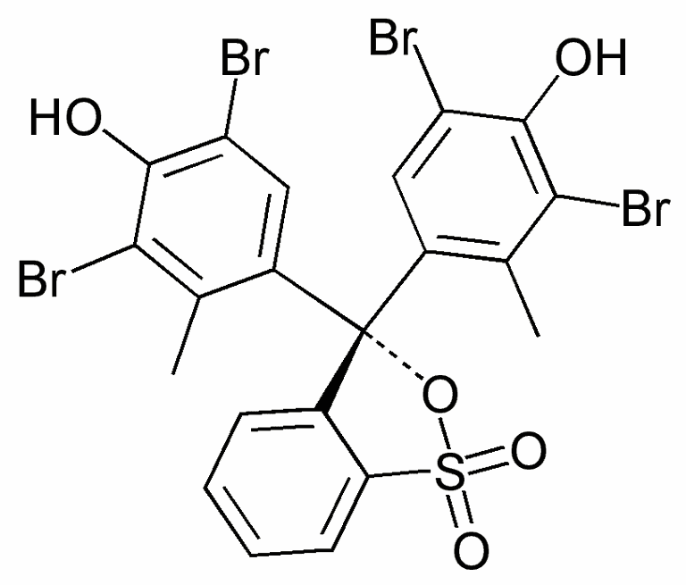 This is the chemical structure of bromocresol green.