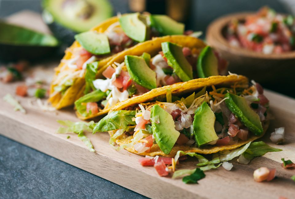 Ground beef tacos with avocado