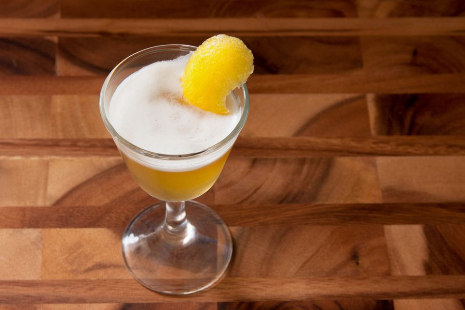 Classic Whiskey Sour Cocktail With Lemon Peel