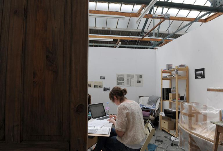 Artist Amy Gee in her studio at Childers Street.