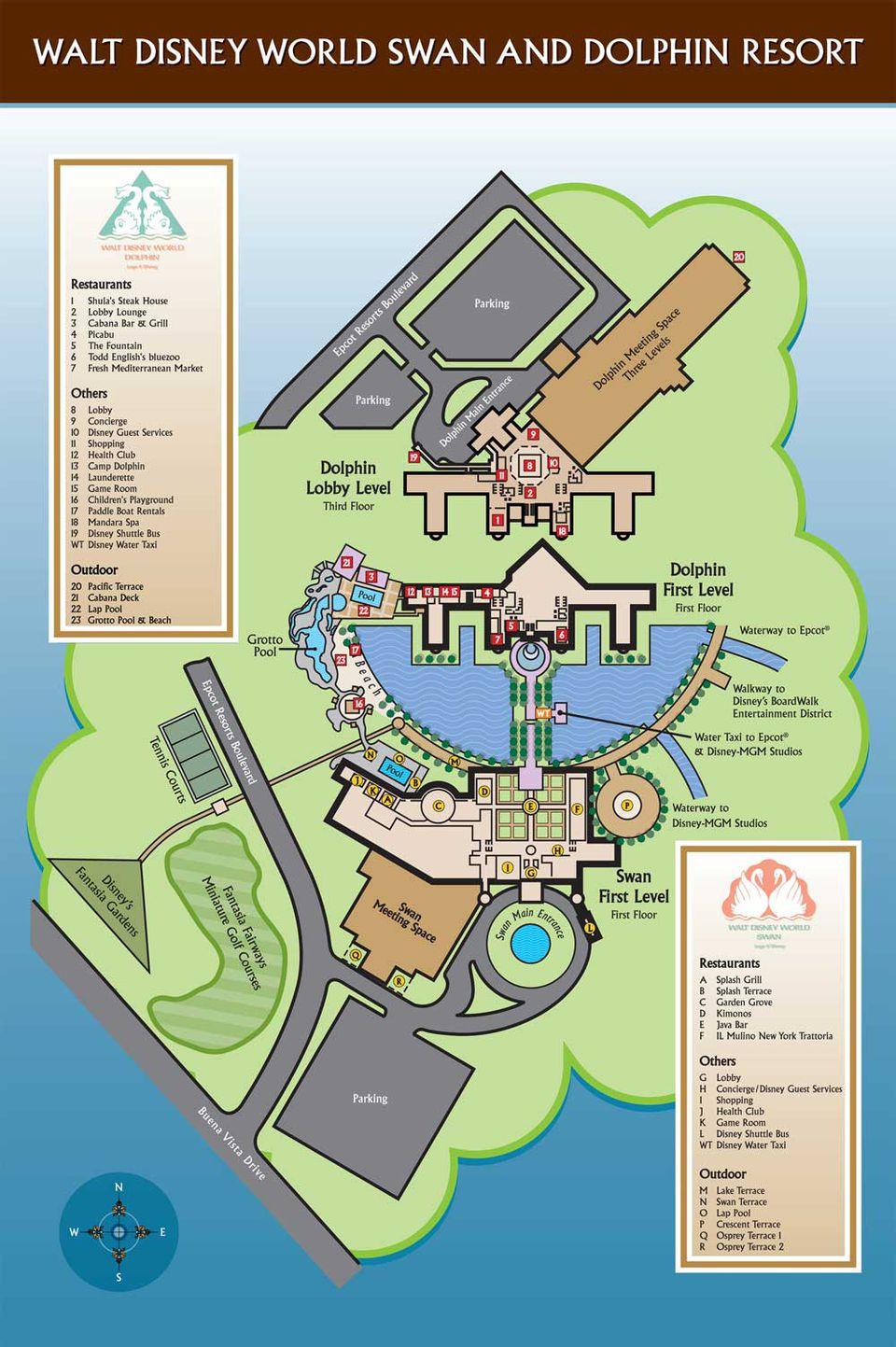 Disney World Swan and Dophin Disney Map. Disney World Maps for Each Resort