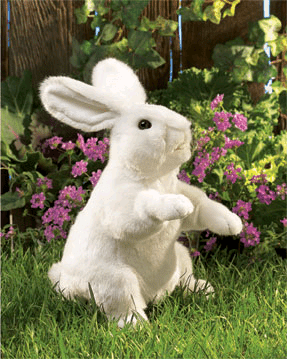Folkmanis Standing White Rabbit Puppet - Beautiful, Detailed Hand Puppets - Easter Toys