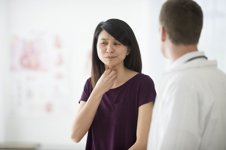 Telling a Doctor About Her Sore Throat