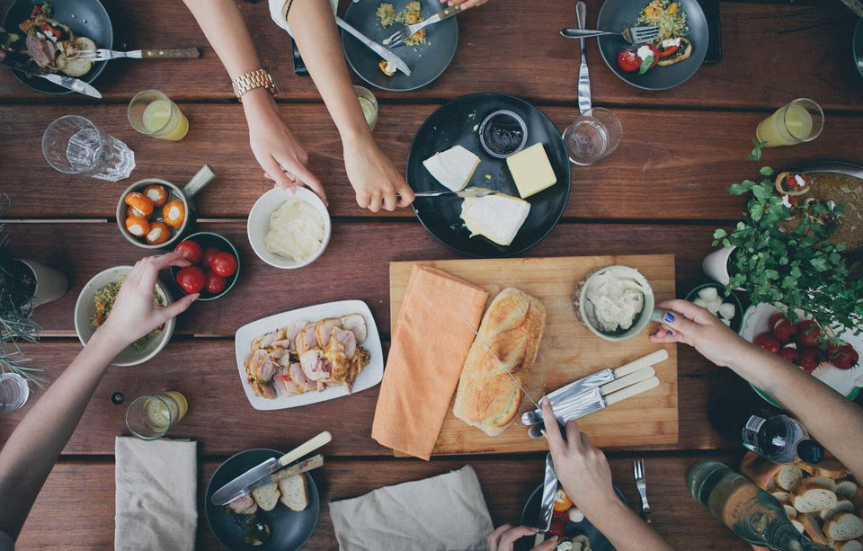 Friends eating tapas