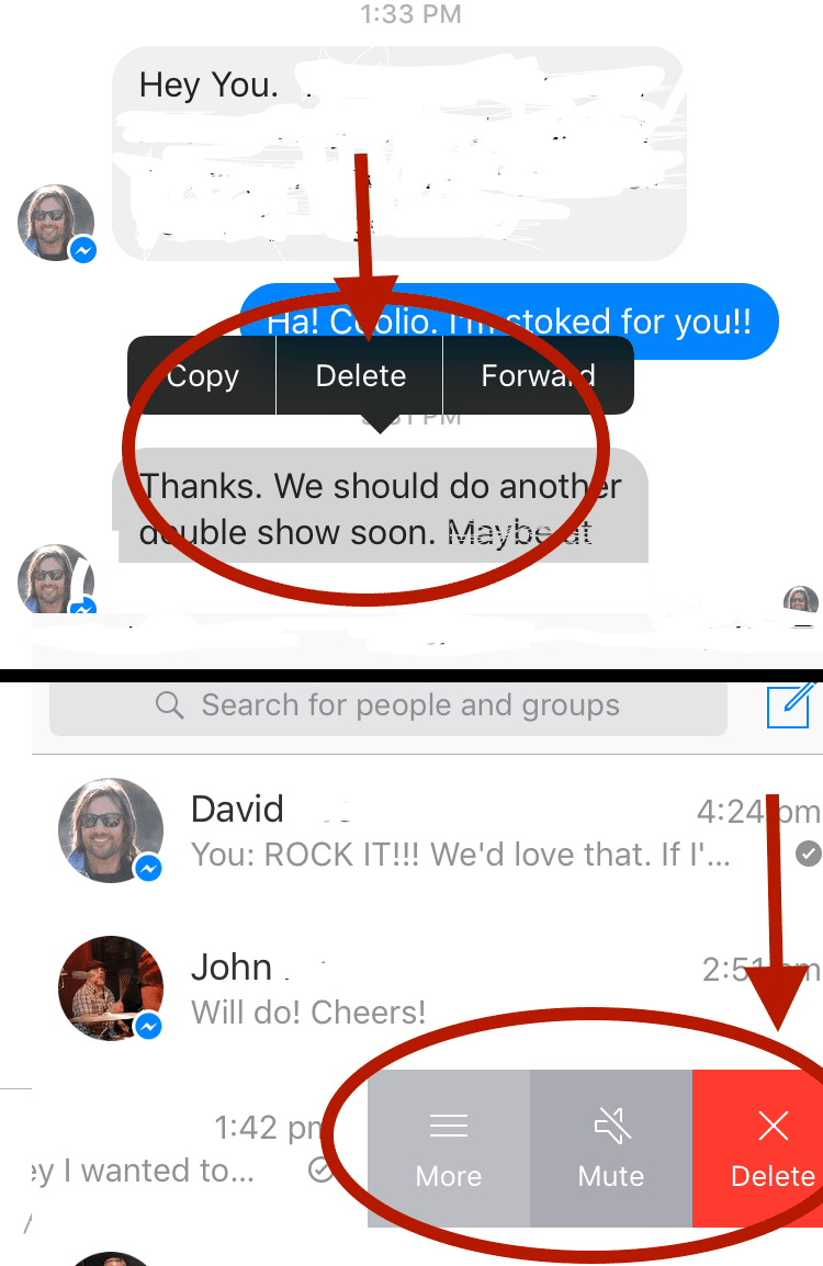Delete your facebook chat history fast tap facebook messenger to open the application to delete an entire conversation ccuart Gallery