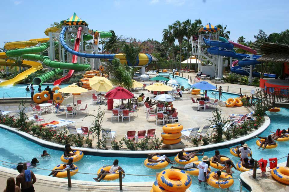 Water slide tower and lazy river