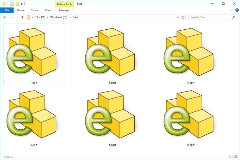 Screenshot of several EPRT files in Windows 10