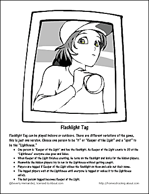 Flashlight Tag Instructions And Coloring Page