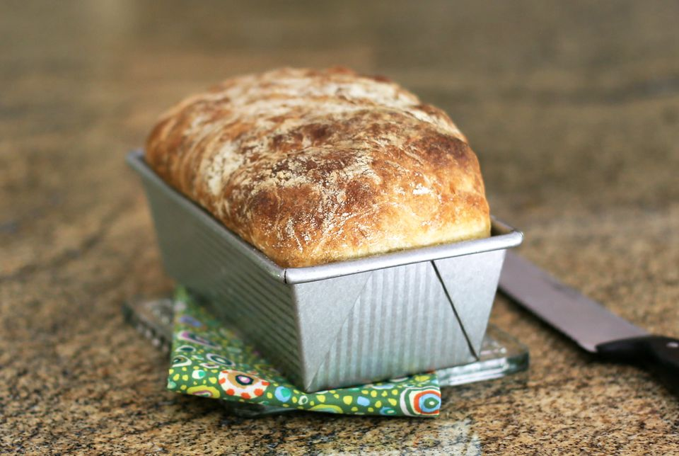 No Knead Bread in Loaf Pan
