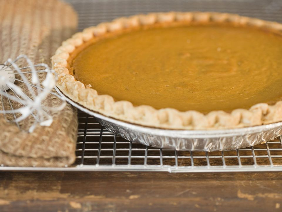 Close up of pie on cooling rack