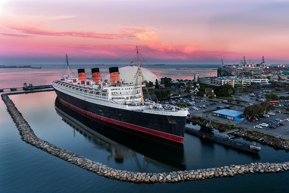 RMS Queen Mary at Long Beach at Sunset