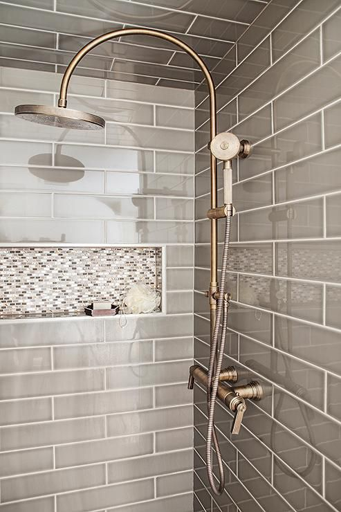 bathroom shower tile photos. gray subway tile shower with vintage head bathroom photos