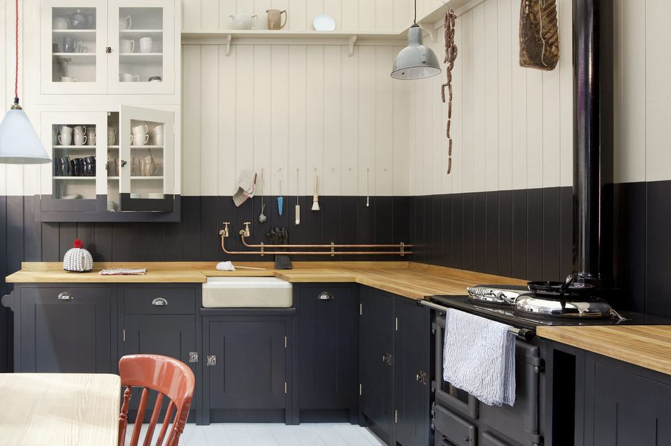 Dark Blue Cabinets Backsplash British Kitchen