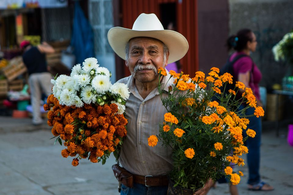 Man with October Flowers