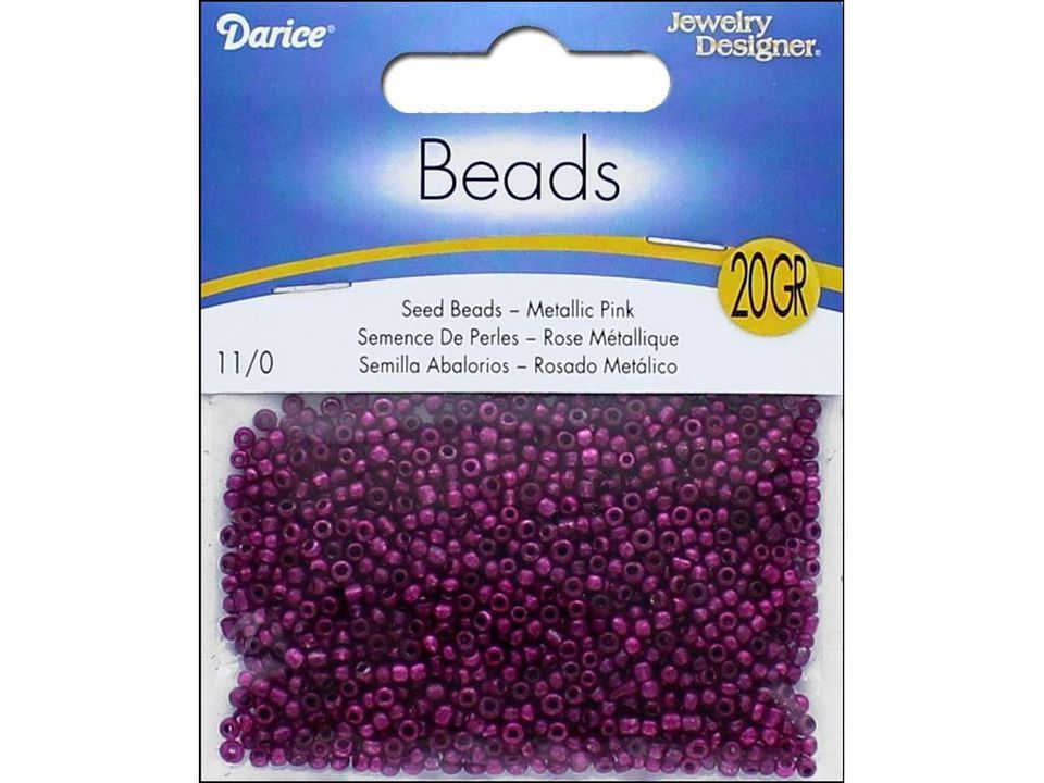 Package of metallic pink seed beads