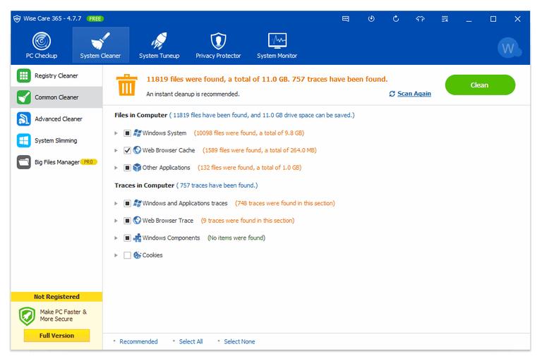 Screenshot of Wise Care 365 v4.7.7 in Windows 10