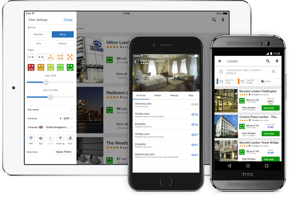 Trivago's family of websites and smartphone apps