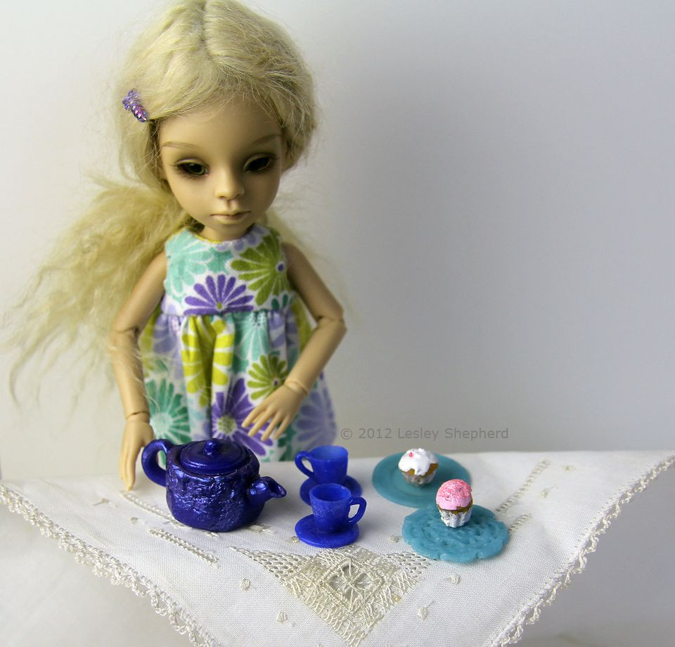 Dollhouse miniature teaset made from polymer clay