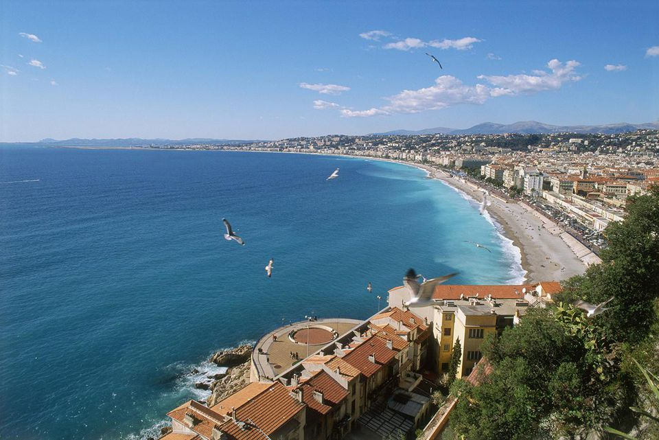 Ocean and shoreline of Nice, France
