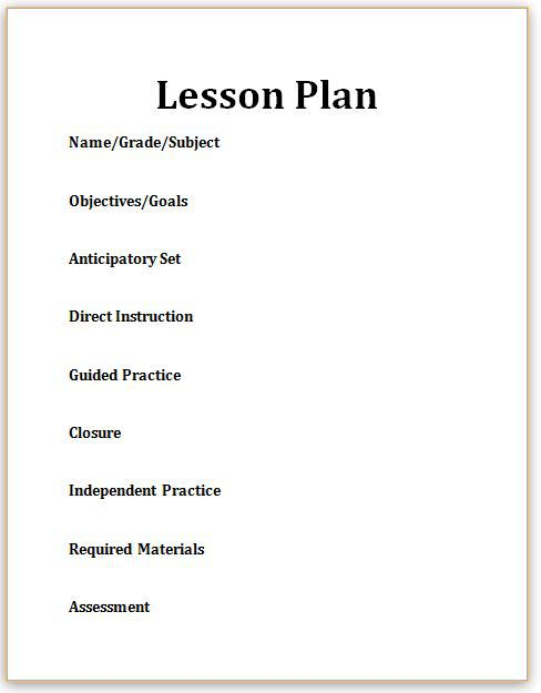 lesson plan templates for elementary teachers