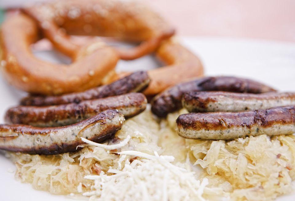 Bratwurst with Sauerkraut and Pretzel