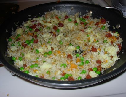 Photo instructions and recipe for fried rice chinese sausage fried rice with carrots and peas ccuart Image collections