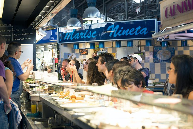 Tapas at La Boqueria fresh produce market in the Ciutat Vella district, Barcelona
