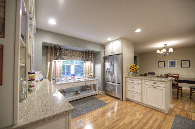 golden teak hardwood kitchen flooring
