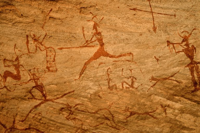 Archeological rock painting, hunting