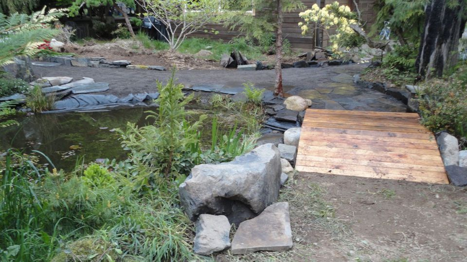Wooden Garden Bridge With Slight Hump