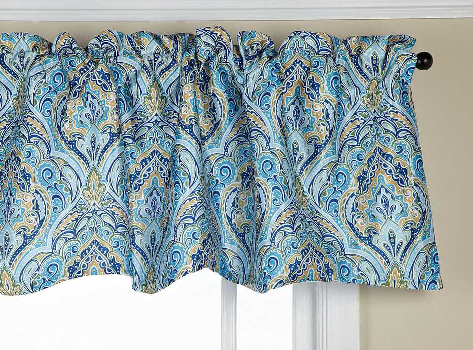 Blue paisley window valance