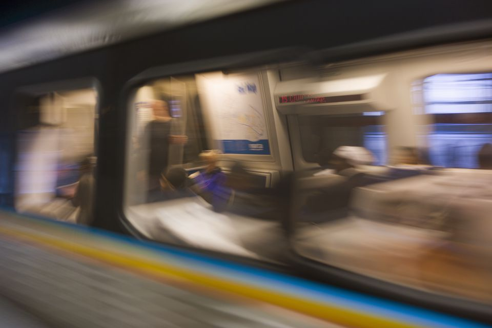 MARTA subway train in motion, Atlanta, Georgia