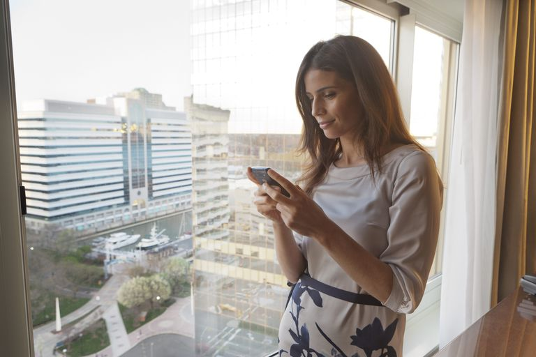 Woman looking at cell phone