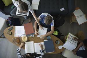 Overhead view teenagers doing homework, studying in living room